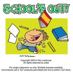 There's a certain joy when that final school bell rings, signaling that summer vacation is here. And that goes for teachers as well as students.  School's Out includes 18 unique cartoon images of kids and teachers celebrating graduation and the last day of school.
