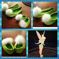 Tinkerbell Costume shoes Tink green fairy pixie baby shoes bright lime green with pom poms child sizes months (Diy Costume Halloween) Tinkerbell Kostüm Kind, Tinkerbell Shoes, Tinkerbell Party, Tinkerbell Costume Kids, Baby Fairy Costume, Tinkerbell Makeup, Mouse Costume, Holidays Halloween, Children Costumes