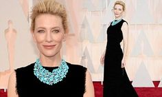 Cate Blanchett goes for a simple sophisticated high-necked black gown #DailyMail