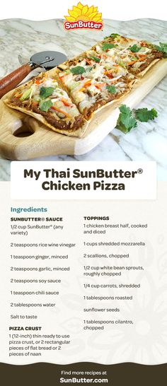 When is pizza even better than pizza? When it's My Thai SunButter Chicken Pizza. Try making this tasty creation for your family and friends. Pizza Ingredients, Rice Wine, Bean Sprouts, Chicken Pizza, White Beans, Lunch Recipes, Hot Dog Buns, Food Print, Peanut Butter