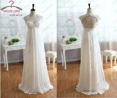 Cap manches mariée robe robe de mariée Vintage robe de mariée Ivoire mariée dentelle Empire taille mousseline de soie robe parole longueur K...