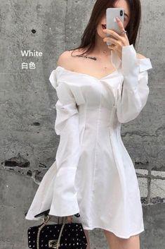 Shirt Collar A-Line Mini Dress Shirt collar mini dress Ulzzang Fashion, Kpop Fashion, Kawaii Fashion, Casual Dresses, Fashion Dresses, Mini Shirt Dress, Korean Street Fashion, Korean Outfits, Look Cool