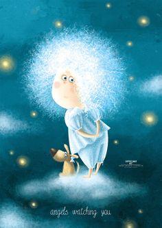 Karina Lemesheva on Behance Winter Illustration, Cute Illustration, Cartoon Drawings, Cute Drawings, Angel Art, Typography Poster, Cute Wallpapers, Illustrations Posters, Cute Art