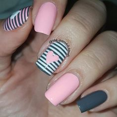 Grey, pink and white nails for the baby shower tomorrow. Saw this design on pinterest ... | Use Instagram online! Websta is the Best Instagram Web Viewer!