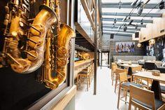 JazzClub#Kosice#pub#restaurant#InteriorDesign#InteriorDesignByOdette Jazz Club, Light Bulb, Restaurant, Interior Design, Lighting, Home Decor, Nest Design, Decoration Home, Home Interior Design