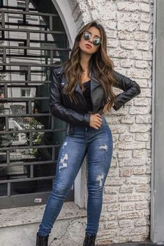 Pin on Teen Clothing Pin on Teen Clothing Edgy Outfits, Mode Outfits, Outfits For Teens, Fashion Outfits, Leather Jacket Outfits, Outfit Jeans, Jacket Jeans, Spring Outfits, Winter Outfits