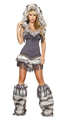 Sexy Faux Fur And Fringe Indian Girl Halloween Costume from Musotica. Saved to Epic Wishlist.