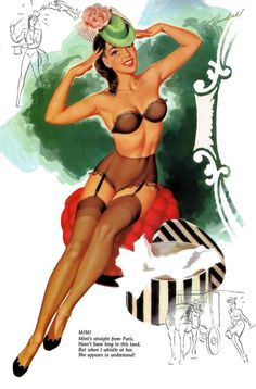 Mimi - April, 1956 Mimi's straight from ParisHasn't been long in this land,But when I whistle at her,She appears to understand! Pin-up illustration by Bill Randall Pin Ups Vintage, Photo Vintage, Retro Pin Up, Vintage Style, Vintage Images, Estilo Pin Up, Pin Up Girls, Rockabilly, Pin Up Illustration