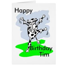 Dancing cow named birthday card add message inside