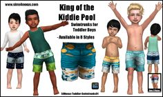 King of the Kiddie Pool - Swimtrunks for Toddler Boys - | GO TO DOWNLOAD PAGE | Just a quick set of swimtrunks for toddler boys! The shirts in the picture are accessory shirts from this set. Since the...