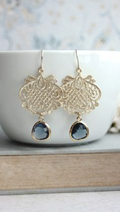 Sapphire Blue Gold Glass Earring. Navy Blue, Dark Royal Blue Gold Lace Scroll Filigree Earring. Something Blue. Blue and Gold Wedding. Bridesmaids Gift. By Marolsha.