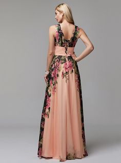 A-Line V Neck Floor Length Chiffon Prom Dress with Pattern / Print / Ruched by TS Couture® 2019 - £ Evening Dresses Online, Cheap Evening Dresses, Prom Dresses, Formal Dresses, Print Patterns, Pattern Print, Victoria Dress, Maid Of Honor, Chiffon