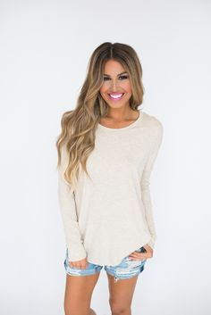 Oatmeal Ribbed Sleeve Top - Dottie Couture Boutique