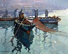 Sablautzki Alfredo (Prussia 1921 - Napoli 2003) La pesca olio su tavola, cm 40x50