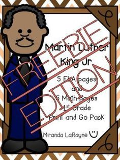 Free Martin Luther King Jr Day sheets - This pack will enhance your 1st grade MLK Jr. study by spiraling previously taught skills with a fun twist. Cant find a time to squeeze in the activities? Just use them for morning work!