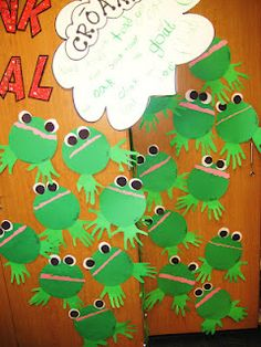 Frog craft using handprints: cutting practice (body), tear mouth, punch eyes + DESCRIPTIVE word conversation bubble 2015 Daycare Crafts, Sunday School Crafts, Classroom Crafts, Letter F Craft, Frog Activities, Spring Activities, Art For Kids, Crafts For Kids, Craft Kids