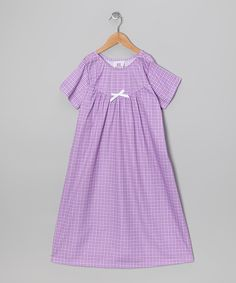 Take a look at this Cozytime Lilac Gingham Bow Nightgown - Toddler & Girls on zulily today!