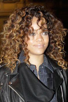 Rihanna Curly Hair Styles - Celebrity Long Curly Hairstyles, Go To… Rihanna Curly Hair, Rihanna Hairstyles, Long Face Hairstyles, Black Women Hairstyles, Trendy Hairstyles, Rhianna Hair, Celebrity Hairstyles, Weave Hairstyles, Black Curly Hair