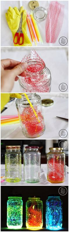 Making Glow Jars/ I like the idea of splattering clear wide strip or tape and taping to inside of jar then hang many in tree/ maybe one color on jar another color on tape in jar for 3d design