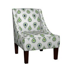 Venda Sloped Arm Chair featuring paisley raindrops -navy prep by drapestudio   Roostery Home Decor