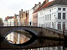 View of canal and bridge in Bruges
