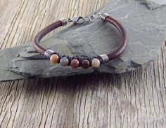 Leather and Jasper Gemstone Bead Bracelet by EndogenousDesigns on Etsy