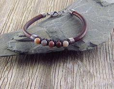 Leather and Jasper Gemstone Bead Bracelet by EndogenousDesigns on Etsy