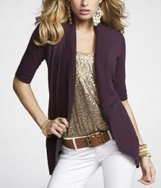 I have a plum cardigan like this and a gold sweater tank. I think I will save it for fall and wear regular jeans, since white jeans are not to be worn after Labor Day. Very cute.