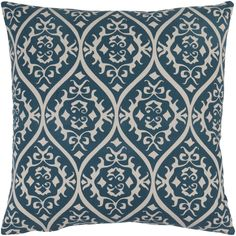 Ornate decorative pillow in teal and gray from Surya's Somerset collection (SMS-001).