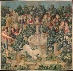 La caza del unicornio, tapiz, teñido con gualda (amarillo), rubia (rojo), y la hierba pastel (azul).