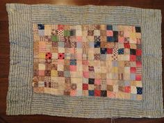 Antique Vintage Early 1900's Postage Stamp Doll Quilt, eBay, smileydog77vp9