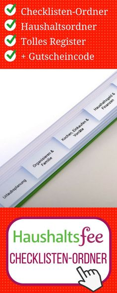 Haushaltsordner: Haushaltsfee Checklisten-Ordner (zum selbst Befüllen, ohne Inhalt)