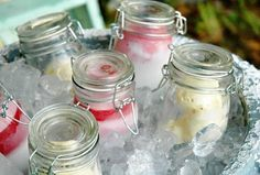 Fill mason jars with ice cream, set on ice! Set up a topping bar next to it and you're ready for a party!