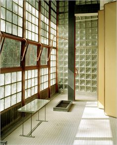 Interior from the La Maison de Verre, Paris, by Pierre Chareau, / Decoration as Composition Architecture Details, Interior Architecture, Interior And Exterior, Glass Brick, Vintage Interiors, Loft Interiors, Glass House, Interiores Design, Windows And Doors