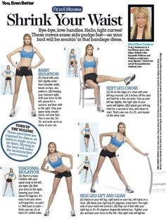 Tracy Anderson, shares how to shrink your waist. Try these exercises in addition to spin classes to see amazing results!Trainer, Tracy Anderson, shares how to shrink your waist. Try these exercises in addition to spin classes to see amazing results! Fitness Workouts, 7 Workout, Fitness Tips, Workout Exercises, Workout Routines, Fitness Gear, Workout Board, Workout Belt, Stomach Exercises