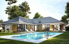 Projekt domu Wyjątkowy 2 - 201.09 m2 - koszt budowy 361 tys. zł House Layout Plans, Bungalow House Plans, Dream House Plans, House Layouts, Modern Bungalow House Design, Modern Pool House, Modern Pools, One Storey House, House Outside Design