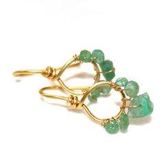 Emerald Earrings Everyday Jewelry Gold Vermeil Loop by FizzCandy, $50.00