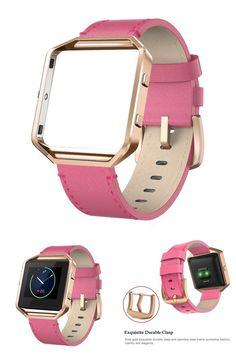 "Genuine Leather Band Fitbit Blaze w/ Frame Gold Metal Small Strap Pink 5""-7.1"" #Swees"