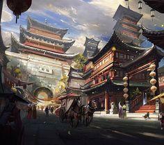 Filename: ultra wide japan fantasy city artwork fantasy art wallpaper Resolution: File size: 638 kB Uploaded: - Date: Fantasy Art Landscapes, Fantasy Landscape, Fantasy City, Fantasy World, Painting Digital, Pagoda Temple, Asian Wallpaper, Hd Wallpaper, Chinese Buildings