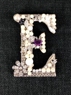Excited to share this item from my shop: Vintage jewelry art letter E unframed initial E ready for mounting or hanging rhinestone jeweled letter E Jewelry Crafts, Jewelry Art, Antique Jewelry, Vintage Jewelry, Black Face Paint, Pearl Letters, E Frame, Vintage Canisters, Letter E