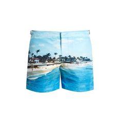 Orlebar Brown Bulldog photographic-print swim shorts (17,985 INR) ❤ liked on Polyvore featuring men's fashion, men's clothing, men's swimwear and mens mesh swimwear