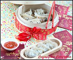 Chinese vegetarian steamed dumplings with shiitake, cabbage and bean sprouts