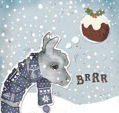 llama christmas card original illustration by cathrynweatherhead, $12.80