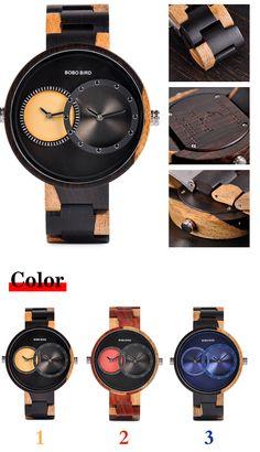 29db40466 Relogio masculino BOBO BIRD hombres 2 zona horaria cuarzo relojes mujeres  hombres del diseño pulsera de regalo en madera caja W-R10 envíos gratuitos  en todo ...
