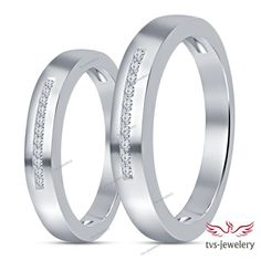 925 Sterling Silver Couple's Round Cut D/VVS1 Diamond Channel Setting Band Ring…