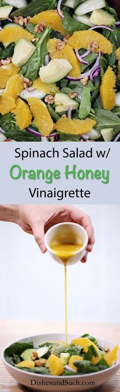 salad with orange honey vinaigrette, easy, delicious & nutritious, kid friendly Spinach Salad Recipes, Easy Salads, Good Healthy Recipes, Healthy Salad Recipes, Lean Recipes, Healthy Lunches, Healthy Eats, Healthy Foods, Lean Meals