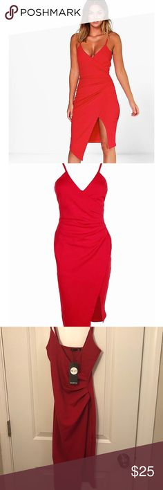 Sexy red dress Very sexy and flattering red dress. Tags still attached. Size US 4. Fits like an XS Boohoo Dresses