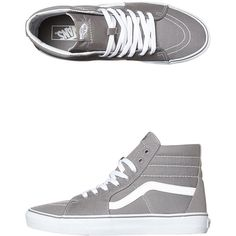 Vans Womens Sk8 Hi Shoe (60 CAD) ❤ liked on Polyvore featuring shoes, sneakers, vans, frost gray, striped sneakers, grey high tops, high top sneakers, grey sneakers and vans footwear
