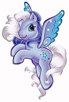 """Silver Glow """"No Pegasus pony loves the night sky more than Silver Glow. She especially loves flying on a clear night when the moon is big and bright. In fact, she is often known to roll a sleepy friend out of bed to share an especially starry sky or a beautiful shooting star."""" ~ story from Target Sweepstakes Meet the Ponies"""