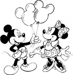 Mickey Minnie Balao Para Colorir